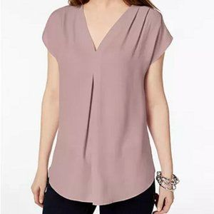 INC Inverted-Pleat V-Neck Top